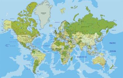 Fototapete Sehr detaillierte politische Weltkarte mit Kennzeichnung.