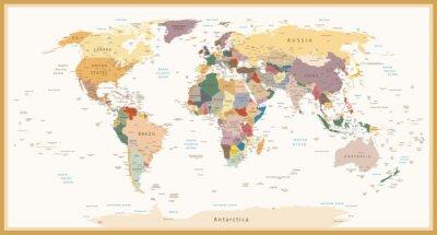 Fototapete Sehr detaillierte Politische Weltkarte Vintage Farben