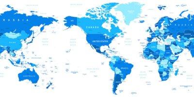 Fototapete Sehr detaillierte Vektor-Illustration der Weltkarte. Bild enthält Landkonturen, Land und Landnamen, Städtenamen, Wasser Objektnamen.