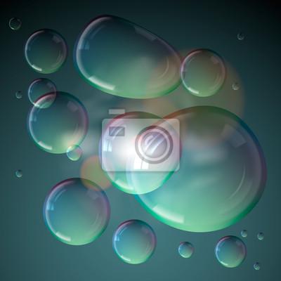 Seifenblasen auf grauem Hintergrund, Vektor eps10 isoliert.