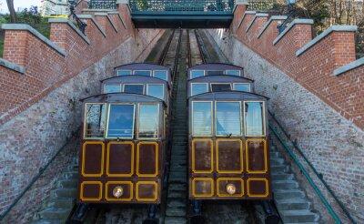 Fototapete Seilbahn auf dem Schlossberg, Budapest Stadt Ungarn.