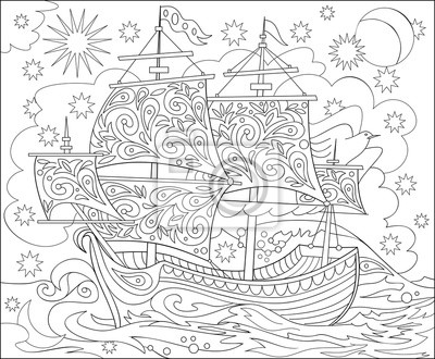 Seite mit schwarz-weiß-darstellung der fantasy fairyland schiff ...