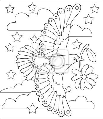 Seite mit schwarz-weiß-darstellung der fliegenden vogel zum färben ...