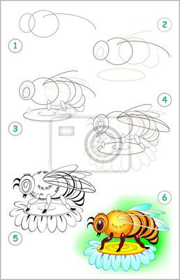 Seite Zeigt Wie Man Schritt Für Schritt Lernt Eine Biene Zu