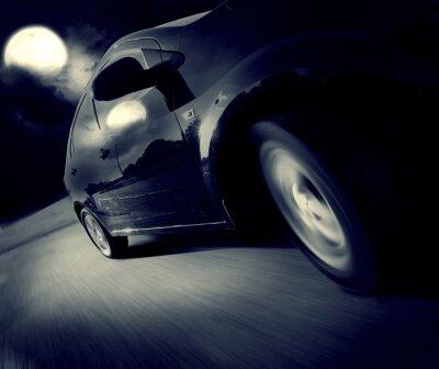 Fototapete Seitenansicht des schwarzen Autos wiederum