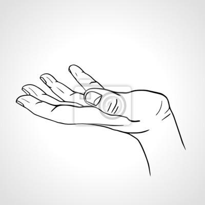 Seitenansicht einer Hand mit Handfläche nach oben isoliert