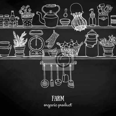 Fototapete: Seitenansicht küche regale mit speisen und teller auf tafel