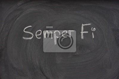 Semper Fi handschriftlich auf einer Tafel