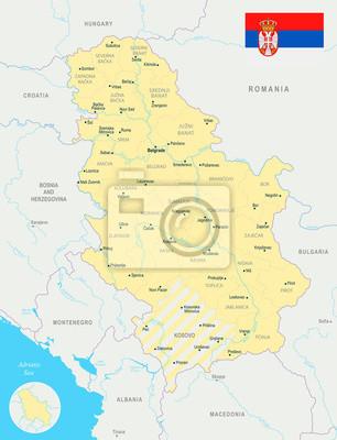 Serbien Karte Ausfuhrliche Vektor Illustration Fototapete