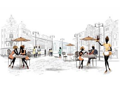 Fototapete Serie von Straßenansichten in der Altstadt mit Cafés