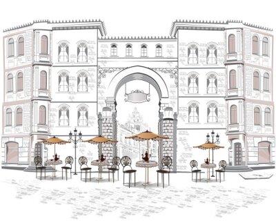 Fototapete Serie von Straßenansichten mit Cafés in der Altstadt