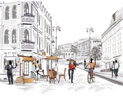 Fototapete Series of street views mit Personen in der Altstadt