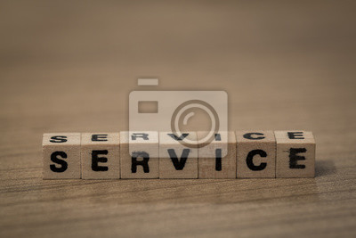 Service in wooden cubes