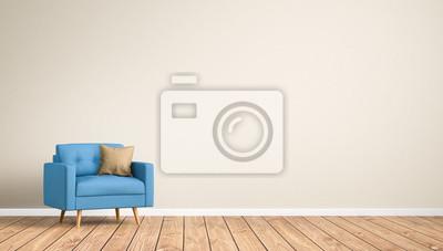 Fototapete Sessel Im Raum / Wohnzimmer / Leere Wand / 3d