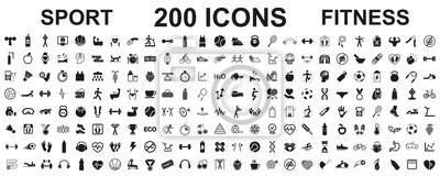 Fototapete Set 200 isolated icons spotr - fitness. Fitness exercise, sport workout training illustration – stock vector