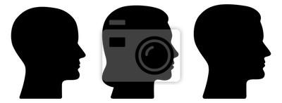 Fototapete Set: 3 menschliche Vektor-Gesichter im Profil: weiblich, männlich, geschlechtsneutral / schwarz, Vektor, freigestellt