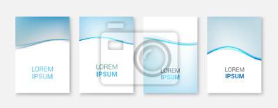 Set Abstrakte blaue Welle weißes Vektor-design.Vector Business-Broschüre, Flyer Vorlage