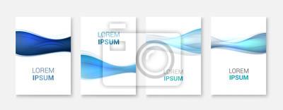 Fototapete Set Abstrakte blaue Welle weißes Vektor-design.Vector Business-Broschüre, Flyer Vorlage