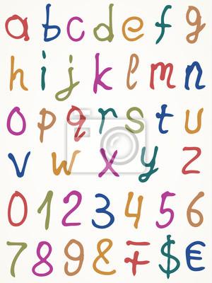 Set Alphabet Buchstaben mit Zahlen und anderer Symbole, Vektor