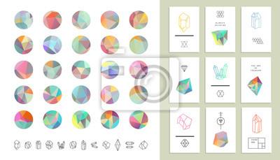 Set aus farbigen Kristallkreisen im Polygonstil