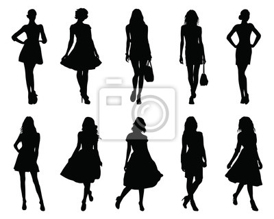 Fototapete Set beautiful fashion girl silhouette on a white background