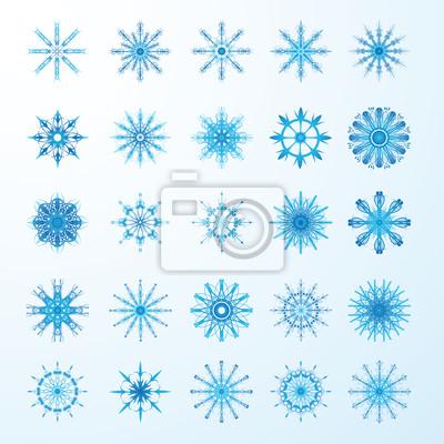 Set blaue Schneeflocken