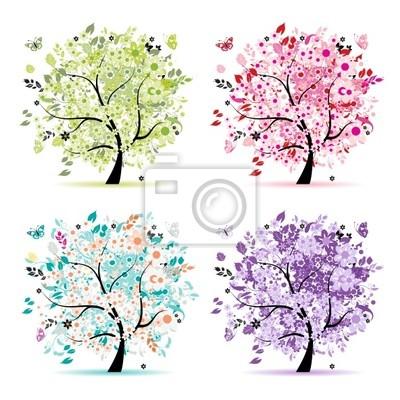 Set Blumen Bäume schön für Ihr Design