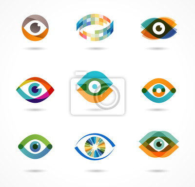 Fototapete Set bunte Augensymbole