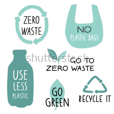 Fototapete Set Eco-Illustrationselemente und handgeschriebene Buchstaben. Recycling, weniger Plastik, grün. Zero Waste Slogan, Typografie. Vektor-Illustration