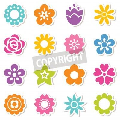 Set flach icon blumen-aufkleber in hellen farben. einfache retro ...