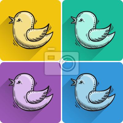 Set gezeichneter Vogel Symbol