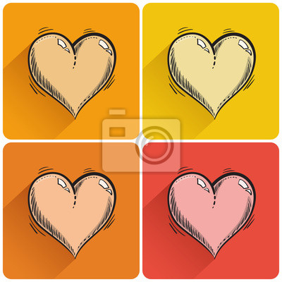 Set gezogen Herz-Symbol