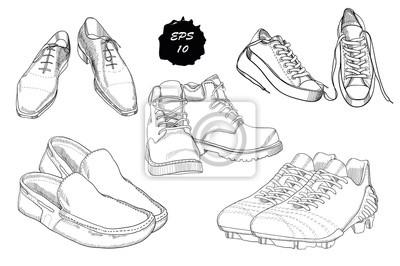 Set Hand Gezeichnete Grafik Manner Schuhe Auf Weissem Hintergrund