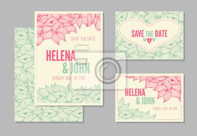 Fototapete Set Hochzeit, Einladung Oder Jubiläumskarten