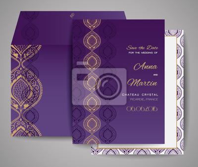Set Hochzeitskarten Ornamentale Einladung Danke Zu Kardieren
