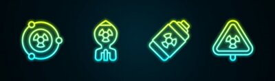 Fototapete Set line Radioactive, Nuclear bomb, energy battery and Triangle with radiation. Glowing neon icon. Vector