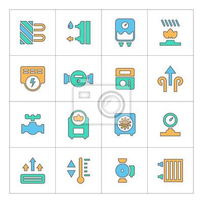 Set linie symbole der heizung fototapete • fototapeten Ventil ...