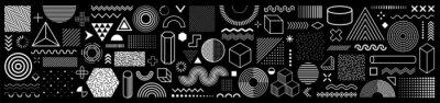 Fototapete Set of 100 geometric shapes. Memphis design, retro elements for web, vintage, advertisement, commercial banner, poster, leaflet, billboard, sale. Collection trendy halftone vector geometric shapes