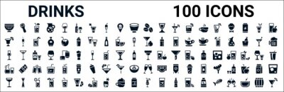 Fototapete set of 100 glyph drinks web icons. filled icons such as opener,last word drink,pomegranate martini,mai thai,margarita,water jug,wine toast,sex on the beach. vector illustration