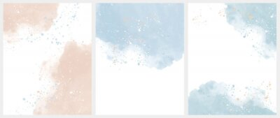 Fototapete Set of 3 Delicate Abstract Watercolor Style Vector Layouts. Light Beige and Blue Paint Stains on a White Background. Pastel Color Stains and Splatter Print Set.
