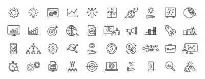 Fototapete Set of 40 Data Proceassing web icons in line style. Graphic, analytics, statistic, network, diagrams, digital. Vector illustration.