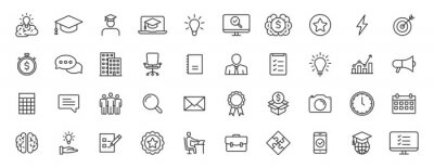 Fototapete Set of 40 Education and Learning web icons in line style. School, university, textbook, learning. Vector illustration.