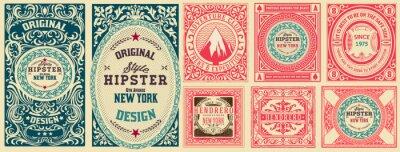 Fototapete Set of 8 vintage labels. Vector layered