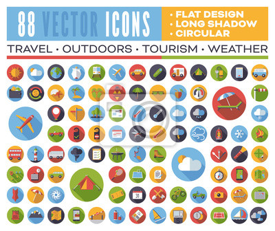 Fototapete Set of 88 flat design long shadow round vector icons for web, print, apps, interface design: travel, outdoors, tourism, weather.