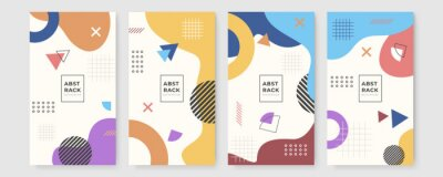Fototapete Set of abstract creative Memphis geometric universal artistic templates background. Good for poster, card, invitation, flyer, cover, banner, placard, brochure and other graphic design