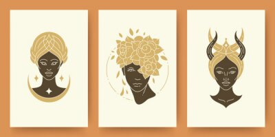 Fototapete Set of abstract female portraits silhouettes modern line art drawing style