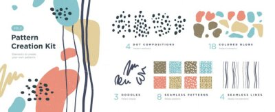 Fototapete Set of abstract trendy hand drawn shapes and design elements. Pattern Creation set. Vector