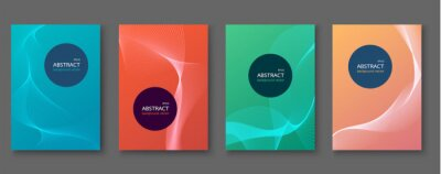 Set of abstract vector backgrounds with line waves.Vector illustration.