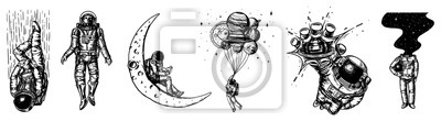 Fototapete Set of Astronauts in the solar system. Spaceman and whale, taking off cosmonaut, planets in space, balloons and the moon. Engraved hand drawn Old sketch in vintage style.