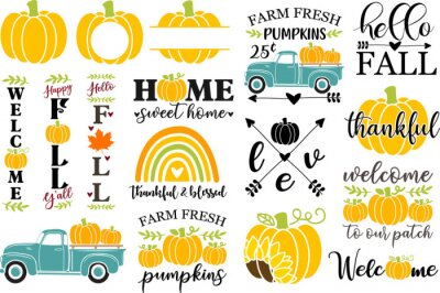 Fototapete Set of Autumn vector illustrations, Fall clip art for cutting machine, Fall home sign design, Pumpkin clipart, Vertical porch sign, Old vintage truck with pumpkins